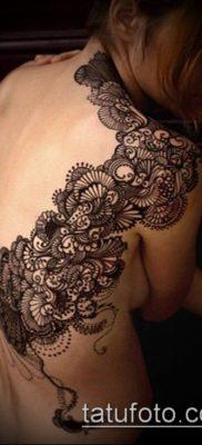 тату кружева №824 – классный вариант рисунка, который удачно можно использовать для преобразования и нанесения как тату кружево на спине