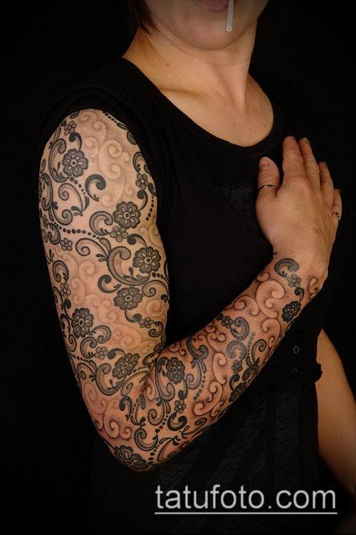тату кружева №371 - интересный вариант рисунка, который хорошо можно использовать для переделки и нанесения как тату кружева