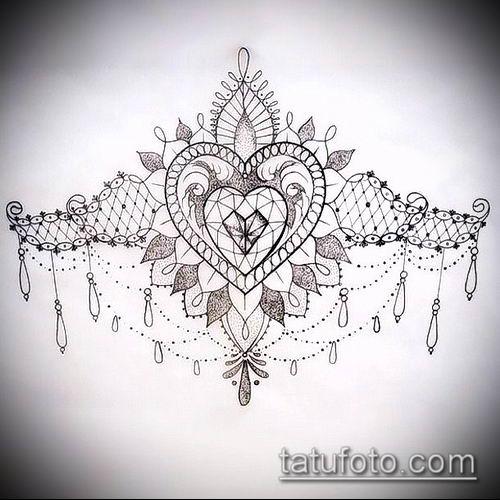 тату кружева №787 - прикольный вариант рисунка, который хорошо можно использовать для доработки и нанесения как тату кружева для девушек