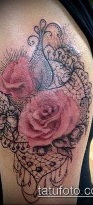 тату кружева №410 – классный вариант рисунка, который хорошо можно использовать для переделки и нанесения как тату роза с кружевами