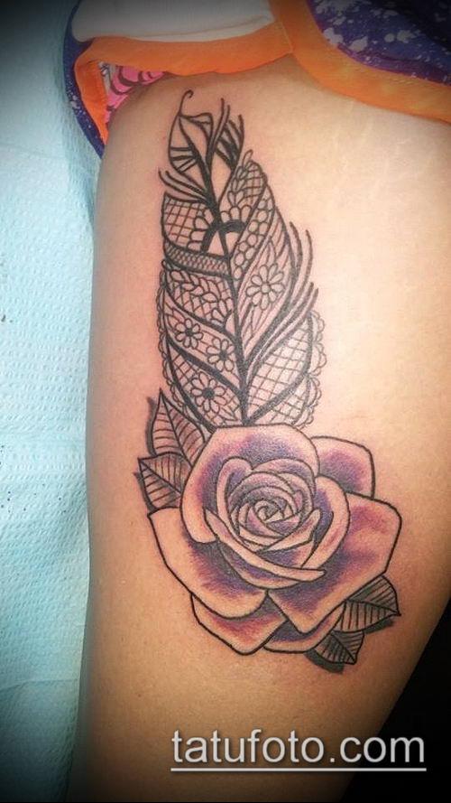 тату кружева №742 - достойный вариант рисунка, который легко можно использовать для доработки и нанесения как тату роза с кружевами