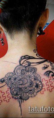 тату кружева №734 – крутой вариант рисунка, который удачно можно использовать для переработки и нанесения как тату кружева