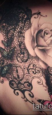 тату кружева №118 – эксклюзивный вариант рисунка, который успешно можно использовать для переработки и нанесения как тату кружево на спине