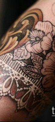 тату кружева №671 – эксклюзивный вариант рисунка, который хорошо можно использовать для переделки и нанесения как тату роза и кружева