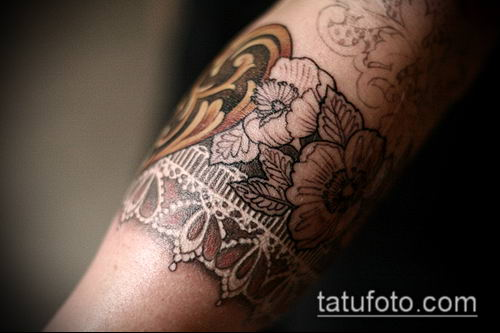 тату кружева №671 - эксклюзивный вариант рисунка, который хорошо можно использовать для переделки и нанесения как тату роза и кружева