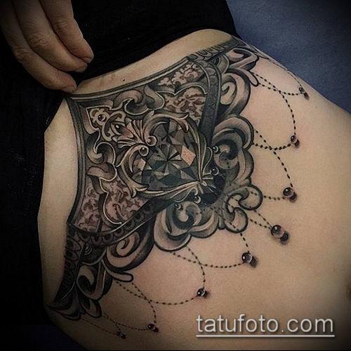 тату кружева №68 - классный вариант рисунка, который легко можно использовать для доработки и нанесения как тату кружева под грудью