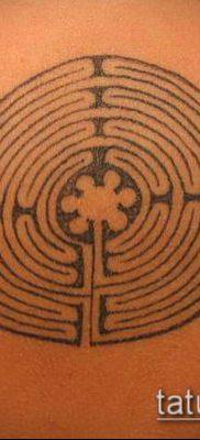 тату лабиринт №691 – уникальный вариант рисунка, который успешно можно использовать для переработки и нанесения как тату лабиринт рукав