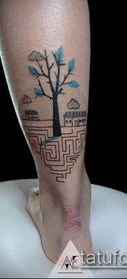 тату лабиринт №521 – прикольный вариант рисунка, который легко можно использовать для переделки и нанесения как Tattoo labyrinth