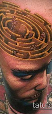 тату лабиринт №671 – достойный вариант рисунка, который хорошо можно использовать для преобразования и нанесения как тату лабиринт фавна