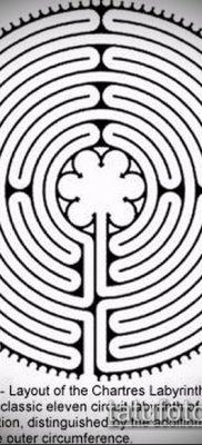 тату лабиринт №752 – крутой вариант рисунка, который удачно можно использовать для переработки и нанесения как человек в лабиринте тату
