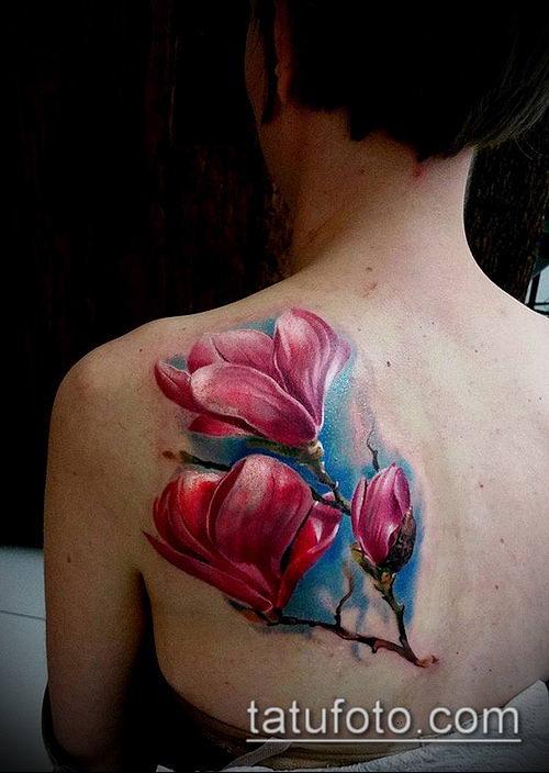 тату магнолия №124 - классный вариант рисунка, который легко можно использовать для доработки и нанесения как Magnolia tattoo
