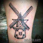 тату мельница №874 - классный вариант рисунка, который легко можно использовать для доработки и нанесения как тату мельница с клевером
