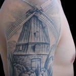 тату мельница №970 - крутой вариант рисунка, который успешно можно использовать для доработки и нанесения как Tattoo mill