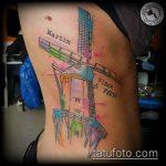 тату мельница №395 - классный вариант рисунка, который удачно можно использовать для переделки и нанесения как тату мельница с клевером
