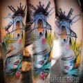 тату мельница №200 - достойный вариант рисунка, который хорошо можно использовать для преобразования и нанесения как тату мельница