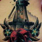 тату мельница №864 - уникальный вариант рисунка, который хорошо можно использовать для переделки и нанесения как тату мельница