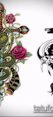 тату меч и змея №95 – интересный вариант рисунка, который удачно можно использовать для переделки и нанесения как тату меч и змея на плече