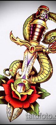 тату меч и змея №495 – интересный вариант рисунка, который хорошо можно использовать для доработки и нанесения как тату меч и змея на плече
