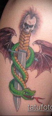тату меч и змея №337 – уникальный вариант рисунка, который легко можно использовать для преобразования и нанесения как Tattoo sword and snake