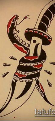 тату меч и змея №184 – эксклюзивный вариант рисунка, который легко можно использовать для доработки и нанесения как тату меч и змея на плече
