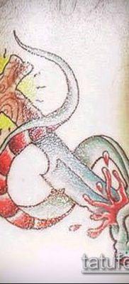 тату меч и змея №307 – крутой вариант рисунка, который легко можно использовать для доработки и нанесения как Tattoo sword and snake