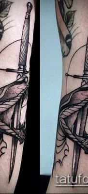тату меч и змея №630 – интересный вариант рисунка, который удачно можно использовать для доработки и нанесения как тату меч и змея на ноге