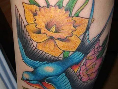 фото тату нарцисс (Narcissus Tattoo) (значение) - пример рисунка - 010 tatufoto.com