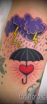 тату облака №764 – достойный вариант рисунка, который легко можно использовать для переделки и нанесения как тату облака тучи