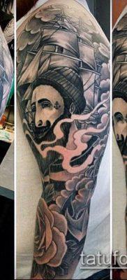 тату облака №443 – интересный вариант рисунка, который хорошо можно использовать для переделки и нанесения как тату облака на руке