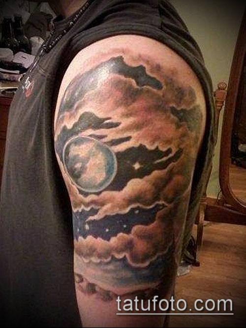 тату облака №920 - уникальный вариант рисунка, который хорошо можно использовать для переработки и нанесения как тату облака рукав