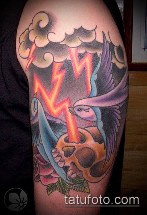 тату облака №247 - достойный вариант рисунка, который хорошо можно использовать для переделки и нанесения как тату облака на руке