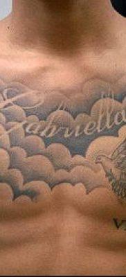 тату облака №231 – достойный вариант рисунка, который удачно можно использовать для преобразования и нанесения как тату череп в облаке