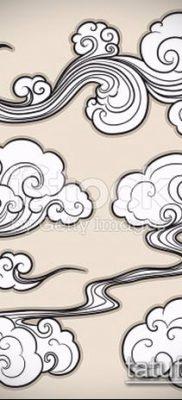 тату облака №158 – классный вариант рисунка, который удачно можно использовать для переделки и нанесения как Tattoo Clouds