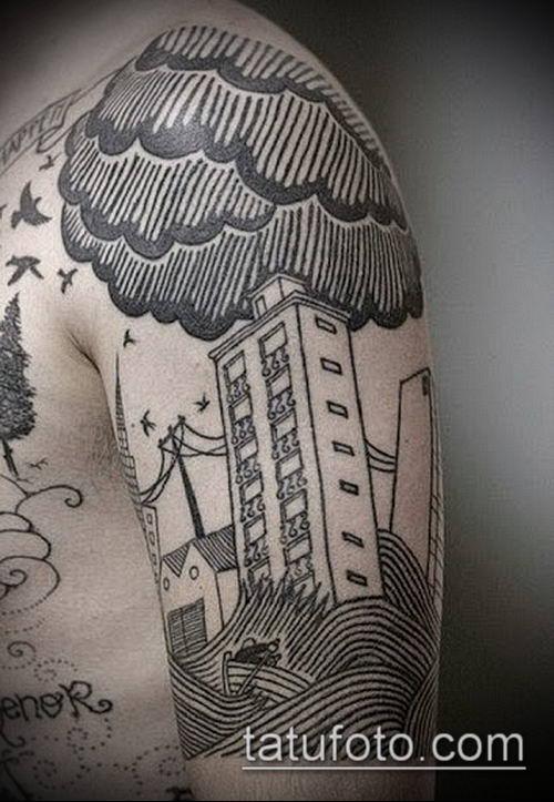 тату облака №306 - достойный вариант рисунка, который легко можно использовать для переделки и нанесения как тату облака фон