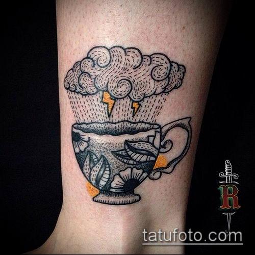 тату облака №207 - крутой вариант рисунка, который легко можно использовать для переделки и нанесения как тату облака на руке