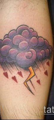 тату облака №16 – крутой вариант рисунка, который легко можно использовать для доработки и нанесения как тату облака небо