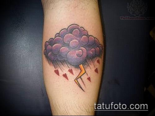 тату облака №16 - крутой вариант рисунка, который легко можно использовать для доработки и нанесения как тату облака небо