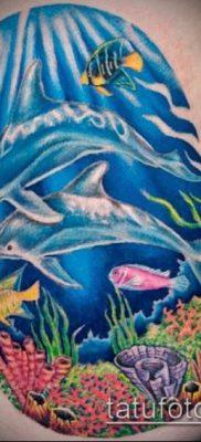 тату океан №476 – эксклюзивный вариант рисунка, который удачно можно использовать для переделки и нанесения как тату море в круге