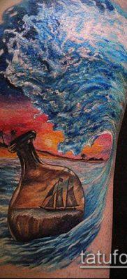 тату океан №198 – эксклюзивный вариант рисунка, который удачно можно использовать для переработки и нанесения как тату океана на руке