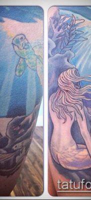 тату океан №855 – прикольный вариант рисунка, который хорошо можно использовать для преобразования и нанесения как тату океан и кит