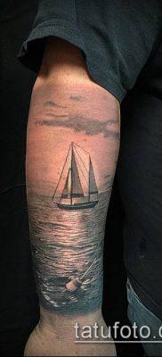 тату океан №141 – уникальный вариант рисунка, который хорошо можно использовать для доработки и нанесения как тату море волны