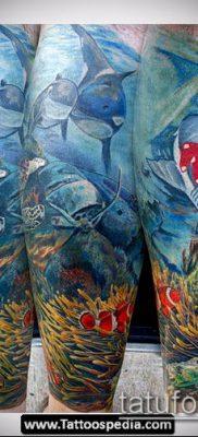 тату океан №246 – классный вариант рисунка, который успешно можно использовать для преобразования и нанесения как Tattoo ocean