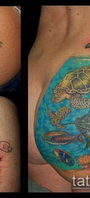 тату океан №647 – интересный вариант рисунка, который легко можно использовать для переработки и нанесения как луна и океан тату