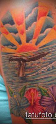 тату океан №738 – эксклюзивный вариант рисунка, который хорошо можно использовать для переделки и нанесения как тату море в круге