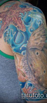 тату океан №191 – крутой вариант рисунка, который хорошо можно использовать для переработки и нанесения как тату океан и кит