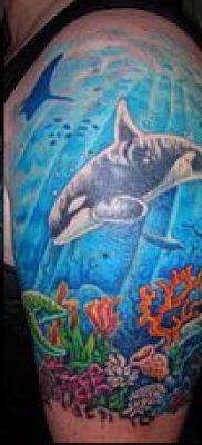 тату океан №373 – достойный вариант рисунка, который успешно можно использовать для доработки и нанесения как тату океан в круге