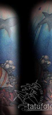 тату океан №901 – эксклюзивный вариант рисунка, который удачно можно использовать для преобразования и нанесения как тату океана на руке
