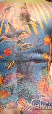 тату океан №688 – прикольный вариант рисунка, который удачно можно использовать для доработки и нанесения как луна и океан тату