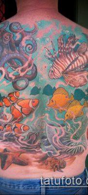 тату океан №291 – интересный вариант рисунка, который легко можно использовать для доработки и нанесения как тату океан рукав
