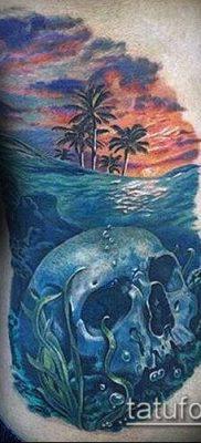 тату океан №400 – достойный вариант рисунка, который удачно можно использовать для преобразования и нанесения как тату океан рукав